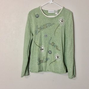 Alfred Dunner Spring Green Embroidered Sweater